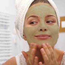 Applying Bentonite Face Mask